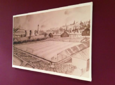 Bradford City Valley Parade 1949s pencil drawing print in graphite sepia on 30'' x 20'' Box Canvas